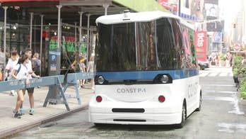 We took a ride in self-driving startup Coast Autonomous' shuttle bus prototype in New York City's Times Square. The company is aiming to put a fleet of the vehicles in operation as soon as next year.