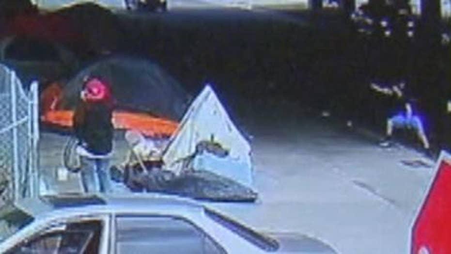 Warning, graphic content: Man shoots at homeless encampment