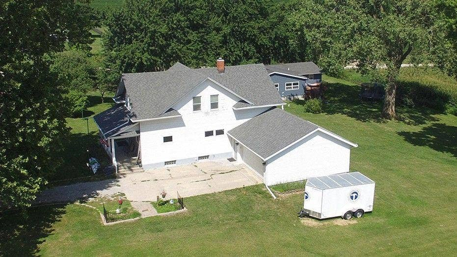Drone footage of last known location of missing Iowa girl