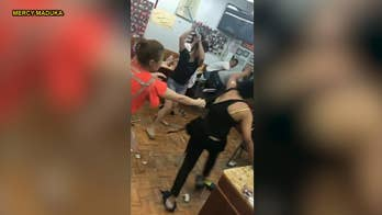 Nail salon workers in Brooklyn squared off with two customers, using broomsticks, fists and dustpans to pummel the pair after one of them refused to pay for a 'f#$@ed up' eyebrow job.