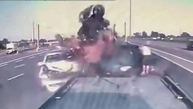 Dashcam captures shocking highway crash