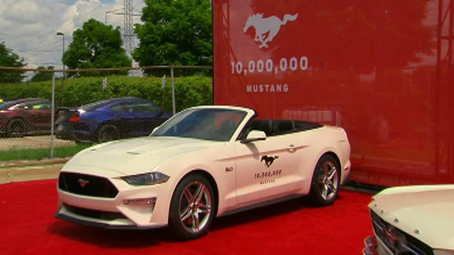 Fox News Autos editor Gary Gastelu gets a sneak peek at the 10 millionth Ford Mustang, which was revealed in Flat Rock, Michigan. The milestone car looks similar to the very first Ford Mustang.