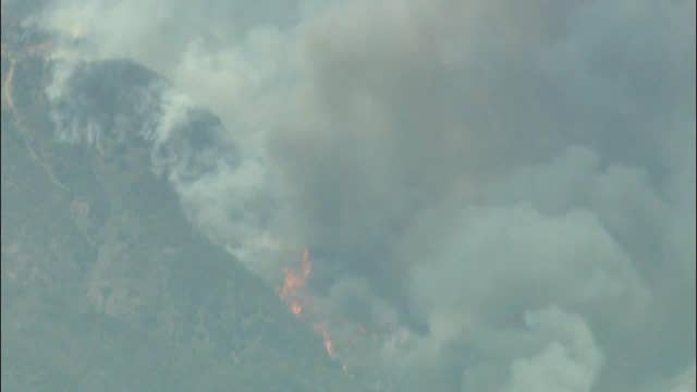 Raw video: Aerial footage of the Holy Fire in California
