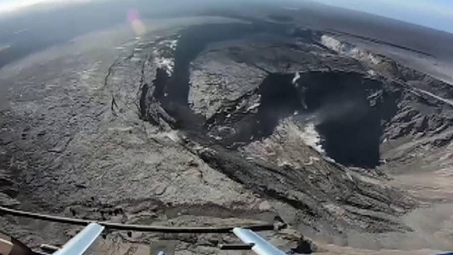 Raw video shows an aerial view of Hawaii's Kilauea volcano.