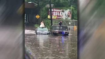New Jersey wedding party became stranded after massive flooding.