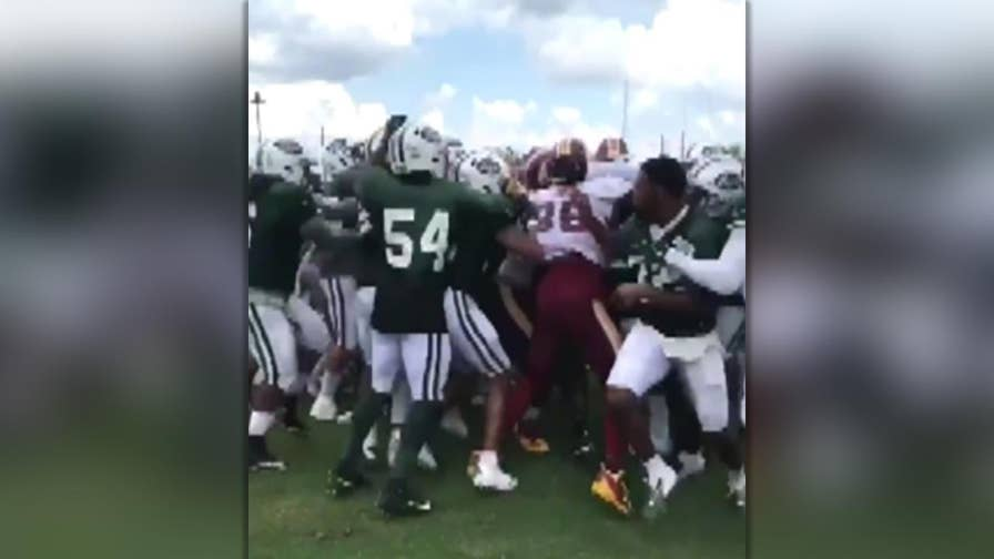 Jets, Redskins involved in brawl during joint practice session on Sunday.