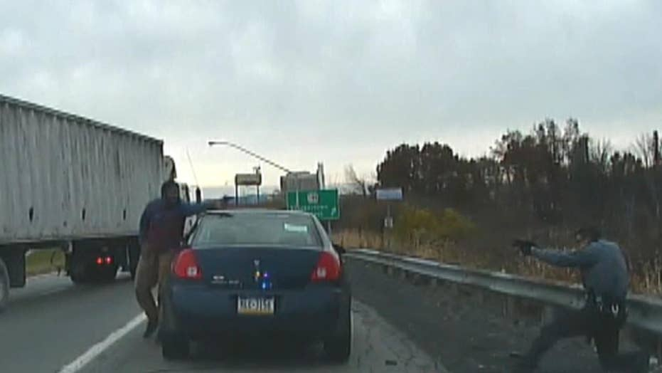 Dash cam video: Shootout between suspect and state police