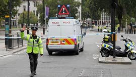 British authorities said Tuesday they were treating a car ramming outside of Parliament as a terror incident and that a male suspect has been arrested.