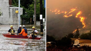 20 million people face the continuing threat of flooding across parts of New Jersey, New York and Pennsylvania; firefighters battle more than a dozen fires in California, but the weather is helping.