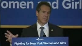 "President Trump renewed his attacks Friday on New York Gov. Andrew Cuomo for saying America ""was never that great,"" accusing him of pushing people out of the state with high taxes -- and asking how he can survive such a gaffe."