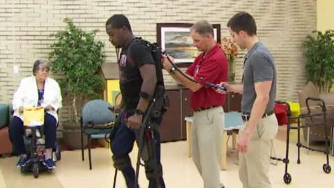 Exoskeleton suit helps paralyzed Navy veteran