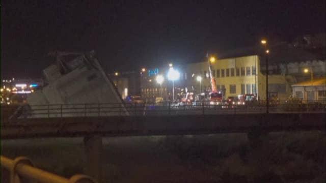 Crews search through the wreckage of Italian bridge collapse