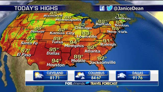 National forecast for Wednesday, August 15