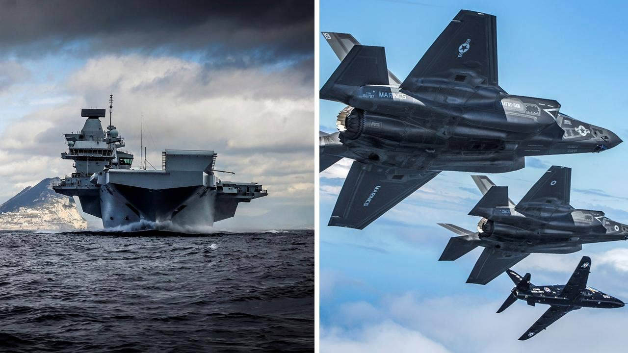 Biggest-ever British warship joins forces with most powerful American stealth fighter jets