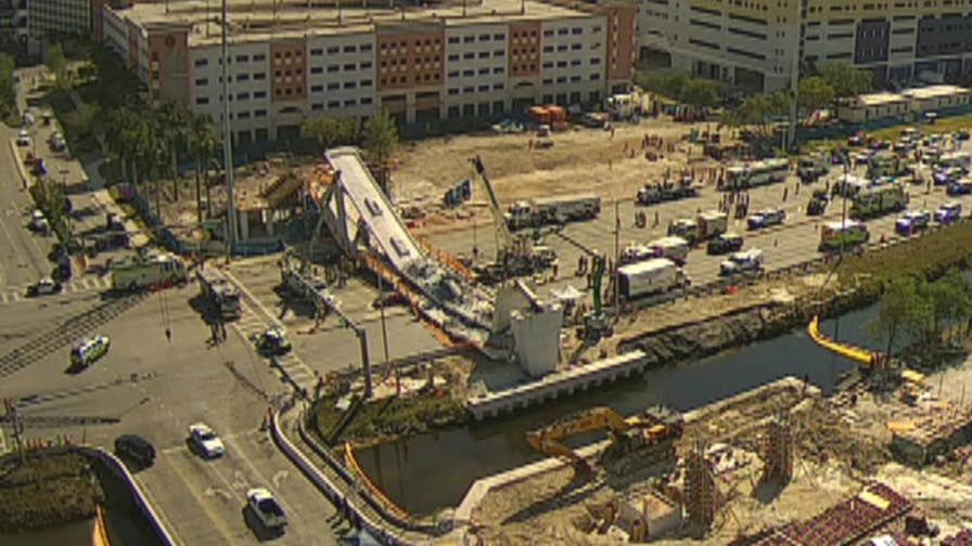 Raw video: Construction taking place on Florida International University pedestrian bridge before it collapsed.