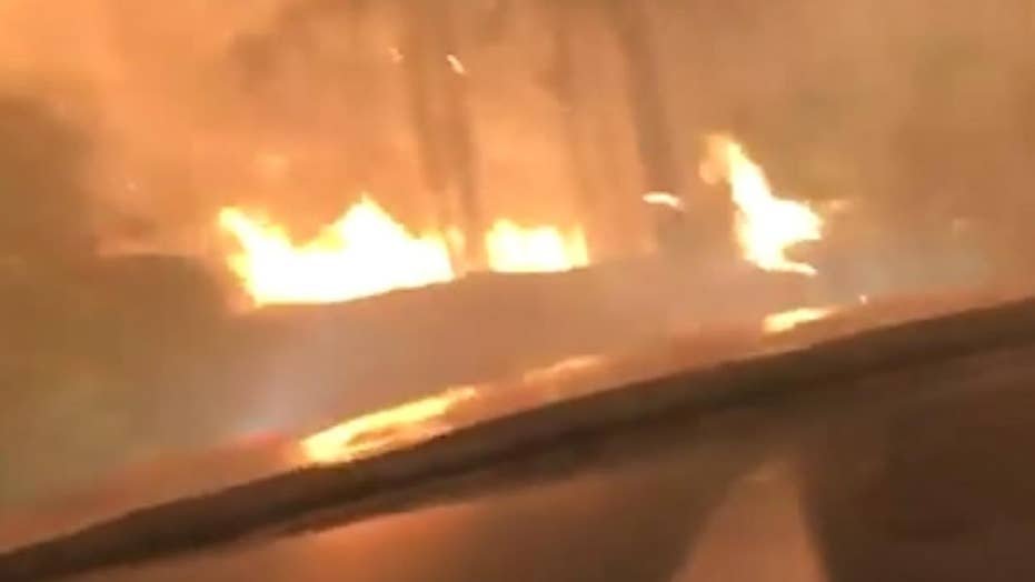 Raw video: Hikers escape wildfire by driving through it