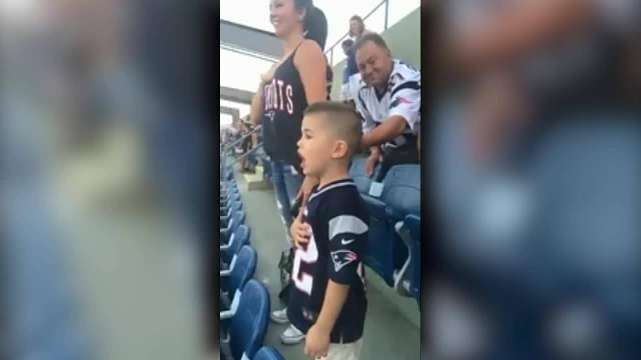 Patriots fan, 3, belts out national anthem at preseason NFL game in viral video