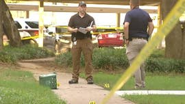 A Texas man beat and stabbed his 1-year-old son to death in the courtyard of an apartment complex Sunday -- despite a valiant attempt to stop the brutal assault by a neighbor who heard screams and grabbed his gun, police said.