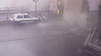 Security camera footage captures the moment a bridge in Genoa, Italy, collapses.