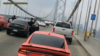 Police arrested a driver after he took part in a 'sideshow' event where three cars circled around doing burnouts and donuts. The events have become a persistent issue in California, with this most recent one shutting down the San Francisco-Oakland Bay Bridge.