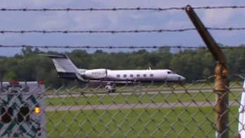 Raw video: The Gulfstream reportedly lost two tires on takeoff from Teterboro Airport in New Jersey.