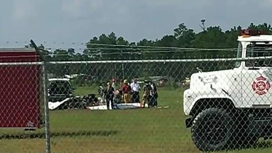 Small plane carrying skydivers crashes at Georgia airport.