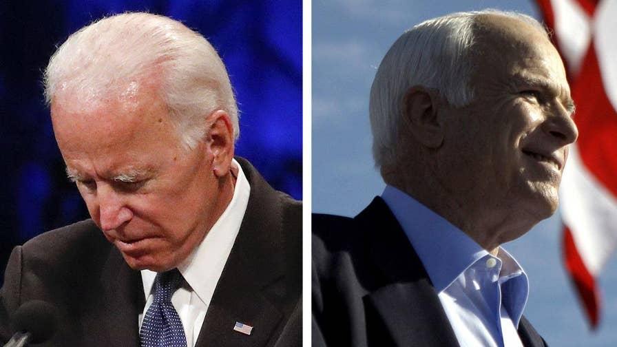 Former Vice President Joe Biden delivers a eulogy for his longtime friend Sen. John McCain at his memorial service in Phoenix, Arizona.