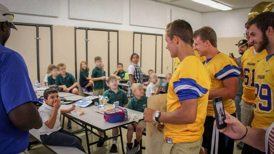 Eight-year-old Taylan Orton from Ohio couldn't wait to sign up for his first youth football league. But when Orton, who has cerebral palsy, was yelled at by coaches and berated by another kid, he left his first practice in tears. When several Findlay High School football players heard about his story they came to visit Orton at school and invited him to join them on the sidelines for every home game this season.