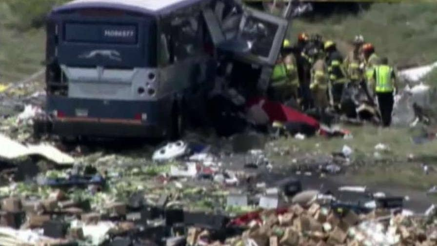 Authorities in New Mexico report multiple fatalities and serious injuries in a crash on Interstate 40 involving a Greyhound bus and a semi-truck.