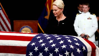 After an emotional memorial service for at a church in Phoenix, John McCain's body returned to the Washington, D.C. area for the final time, when Air Force Two landed at Joint Base Andrews in Maryland.