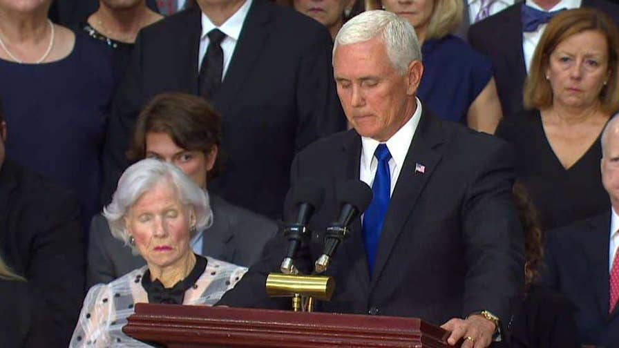 Vice President Pence delivers a eulogy for Sen. John McCain at his memorial service on Capitol Hill.