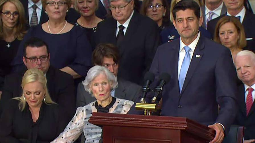 House Speaker Ryan delivers a eulogy for Sen. John McCain at his memorial service on Capitol Hill.