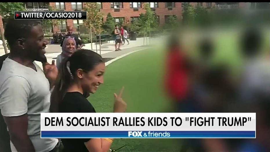 Alexandria Ocasio-Cortez Rallies Kids in New York to Kick Out President Trump