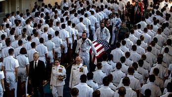 Navy fighter jets perform 'Missing Man' flyover honoring form Navy pilot McCain. Lucas Tomlinson reports.