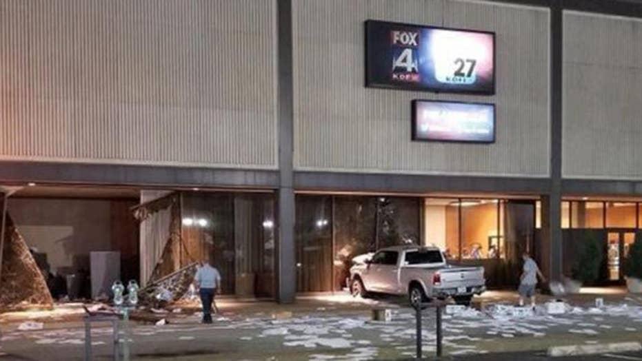 Truck rams into Dallas FOX affiliate