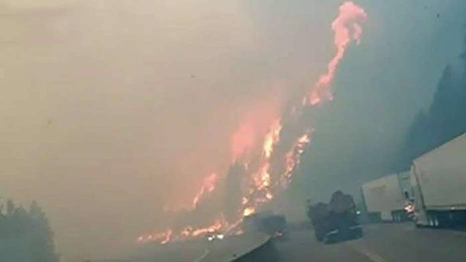Fast-moving wildfire shuts down Northern California freeway