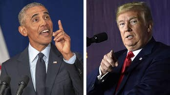 Former President Obama slams the 'politics of division and resentment'; President Trump says he 'fell asleep' during his predecessor's speech.