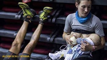 Sophie Power from London, stopped partway through a 43-hour mountain race to breastfeed her 3-month-old baby to draw attention to a policy that didn't allow pregnant women to defer participation.