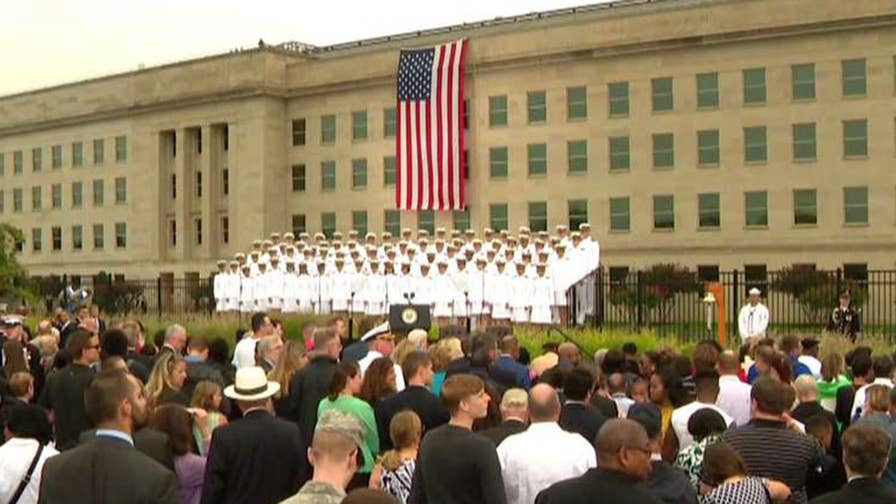 Vice President Pence, Defense Secretary Mattis remember victims 17 years after the terror attacks; Lucas Tomlinson reports from the Pentagon.