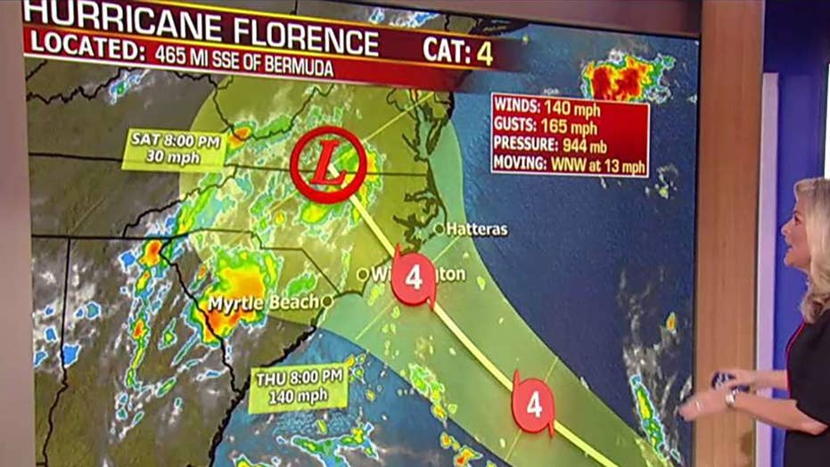 Hurricane Florence packing winds up to 150 mph