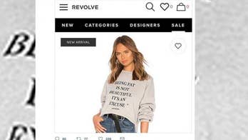 "The fashion company Revolve is getting slammed online for its 'fat shaming' sweatshirt that reads ""Being fat is not beautiful it's an excuse."""