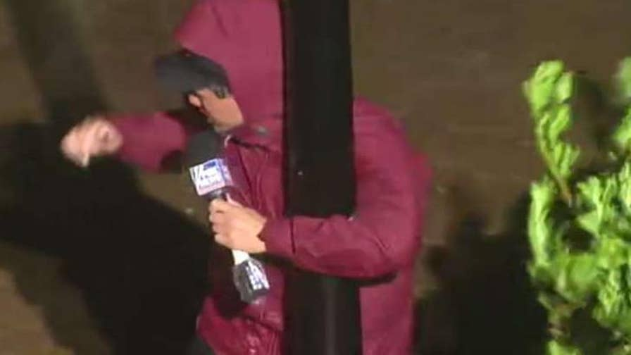 The outer bands of Hurricane Florence bring strong winds to North Carolina; Leland Vittert reports.