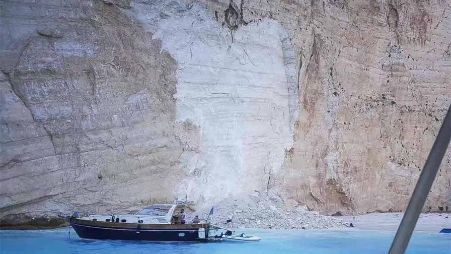 At least seven people were injured after part of a cliff overlooking Navagio Beach on the isle of Zakynthos came crashing to the sand.
