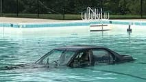 Maryland's Montgomery County Fire and Rescue service says it found a car sitting in the middle of a city's pool following a 'driver error.'