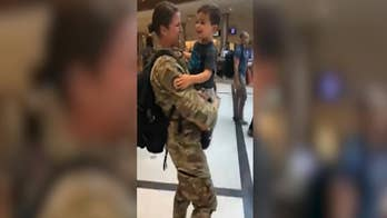 Air Force Staff Sergeant Chelsey Speicher is reunited with her 2-year-old son after being stationed in Jordan for 6 months.