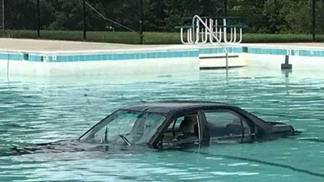 Student driver in Maryland ends up in swimming pool