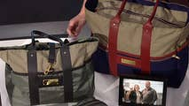 Flight jacket fabric repurposed into a special release of the company's signature tote bag and travel kit.