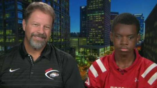 Blind high school football player Adonis Watt and his coach Scott Heideman speak out on 'Fox & Friends' on his success on the field.