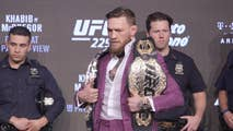 MMA fighter Conor McGregor unleashes a vulgar tirade at Khabib Nurmagomedov during the UFC 229 press conference in New York City.