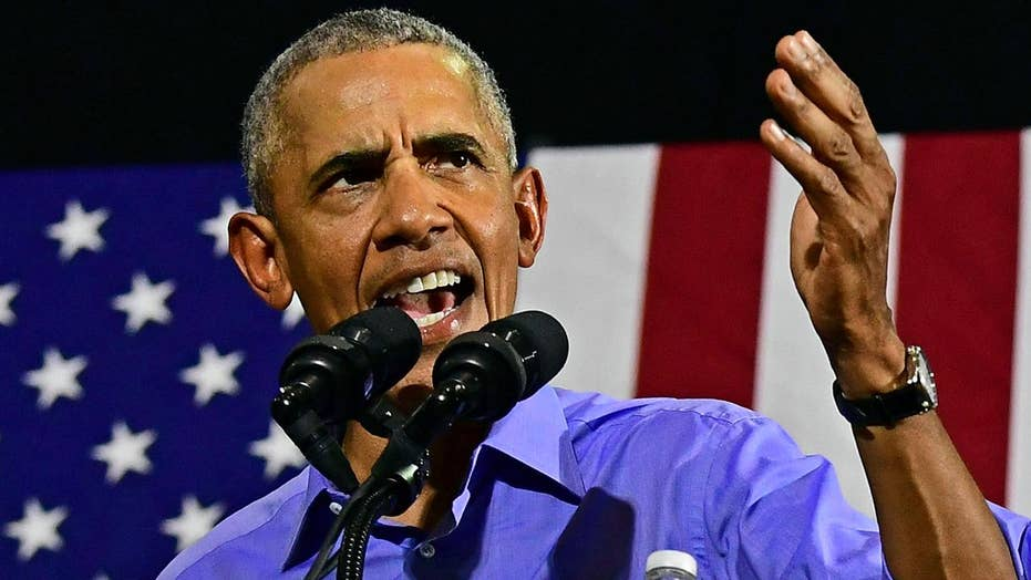 Former President Obama speaks at Democratic rally